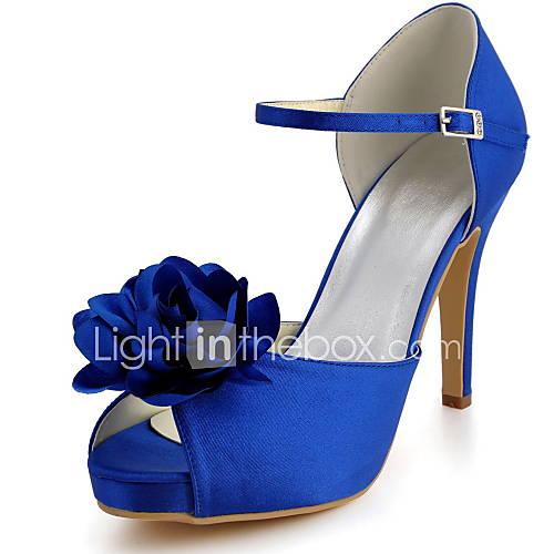 Les chaussures des femmes peep toe pompes talon aiguille en satin chaussures de mariage plus de couleurs disponibles