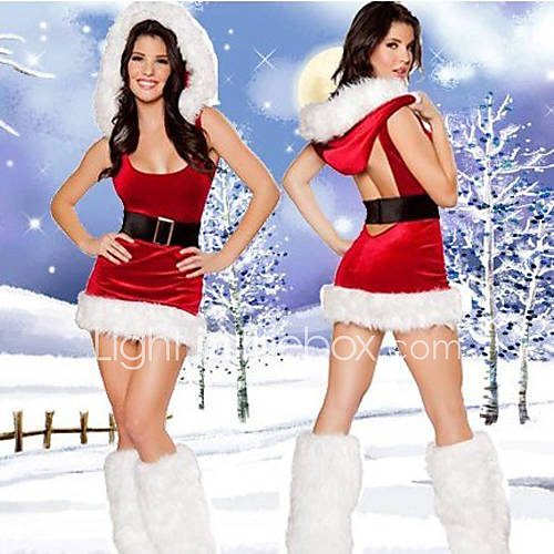 Sexy backless red hooded dress women s christmas costume 777361 2017