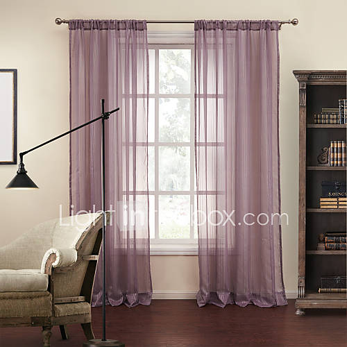 two panels purple stripe jacquard sheer curtains drapes
