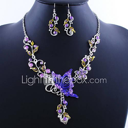 Mariposa de la aleación increíble con collar de acrílico, pendientes de la joyería (más colores) Descuento en Lightinthebox