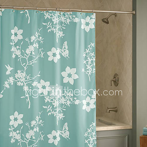 Shower Curtain Light Green Flower Print Thick Fabric Water Resistant W78 X L71 903851 2016