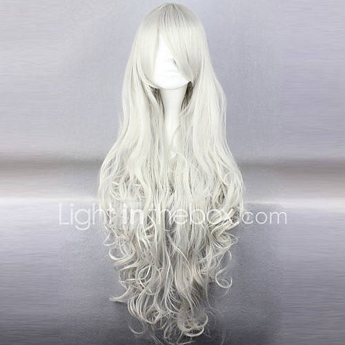 Pelucas de Cosplay Black Butler Queen Victoria Blanco Largo / Rizado Animé Pelucas de Cosplay 90 CM Fibra resistente al calor Mujer Descuento en Lightinthebox