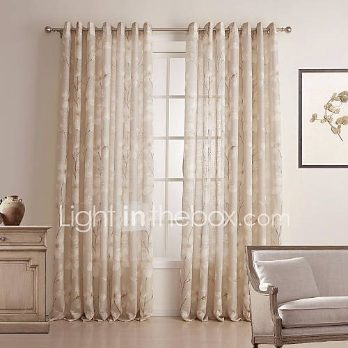 Two Panels) Country Floral Linen/Cotton Blend Sheer Curtain 483294 ...