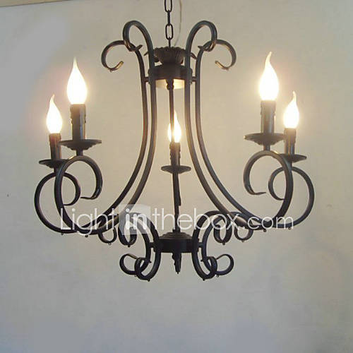 Dining Room Chandeliers Traditional: Max 40W Traditional/Classic Painting Metal Chandeliers