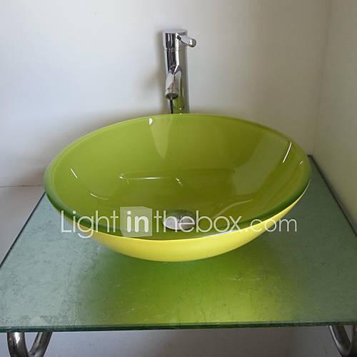Lavandino del bagno freno, Giada Verde Vetro temperato lavandino e bagno rubinetto in ottone del ...