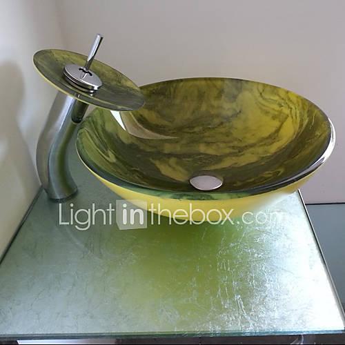 Bagno lavandino freno vetro temperato lavandino e cascata rotondo bagno rubinetto del 862399 - Lavandino bagno vetro ...