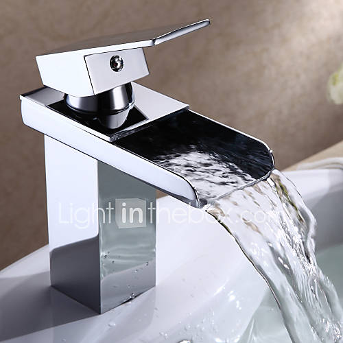 Bathroom Sink Faucet In Modern Style Single Handle Waterfall Bathroom Sink Faucet Chrome Finish