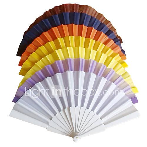 Solide Couleur polypropylène fibre ventilateur de main - Ensemble de 4 (plus de couleurs)