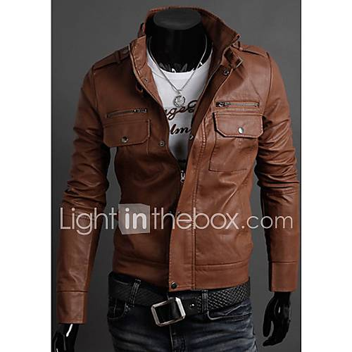 Vários Zippers Masculinos VANS stand Jacket Collar (Light Brown)