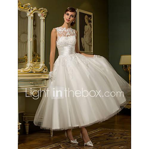 Vestido de Boda - Moderno y Chic/Vestidos de Recepción - Corte en A/Corte Princesa - Joya - Hasta el Tobillo (Tul) Descuento en Lightinthebox