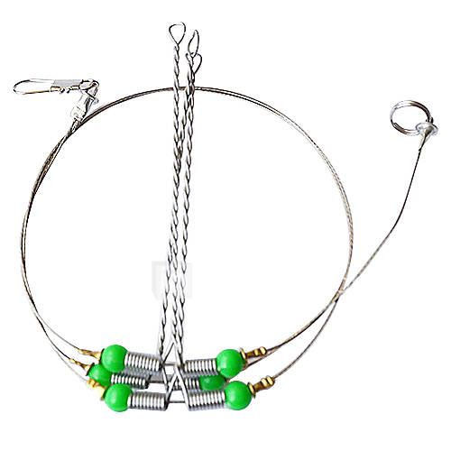 3pcs stainless steel fishing wire leader trace with snap for Steel fishing leader
