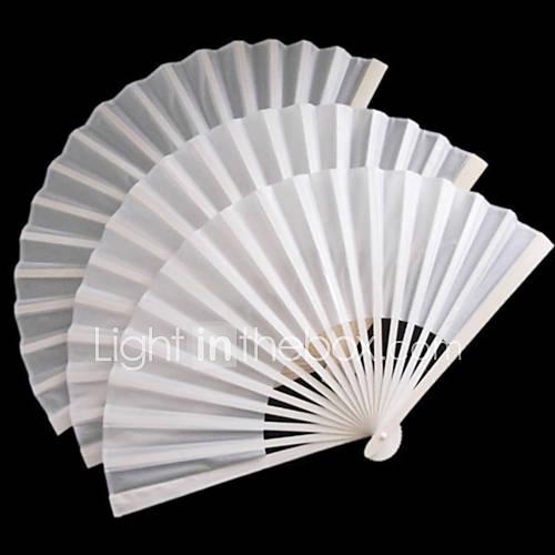 Ventilateur blanc en fibres de polyester Hand - Ensemble de 4