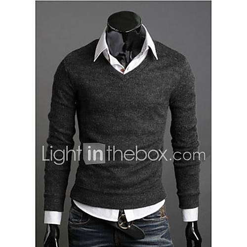 nueva moda mejor suéter multicolor primavera venta v-cuello delgado masculino suéter básico suéter delgado Descuento en Lightinthebox