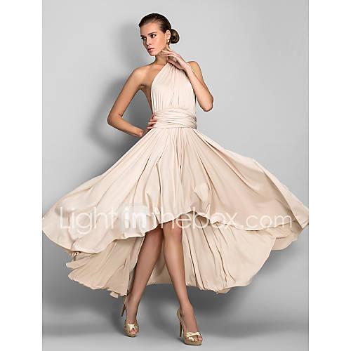Lanting Bride Asimétrica Jersey Vestido Convertible Vestido de Dama de Honor - Corte en A Cuello en V Talla Grande / Pequeña con Descuento en Lightinthebox
