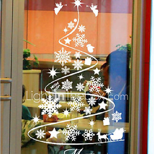 Classic abstract christmas tree window stickers 963931 2016 - Addobbi natalizi per le finestre ...