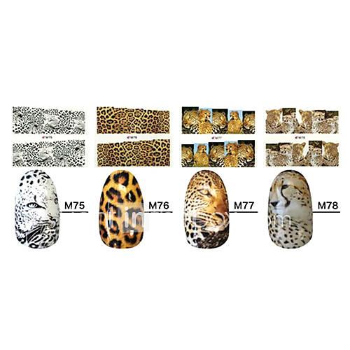 Leopard 1x10PCS animaux de la peau Sery pleine couverture d'ongle d'autocollants (Patterns assorties)