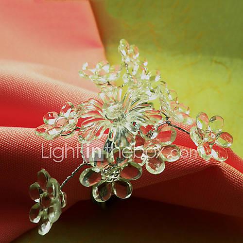 Acrylique fleur de mariage Serviette Set Of 6, Dia 4.5cm