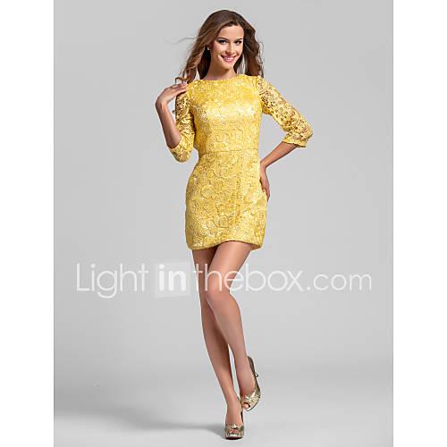 slida   kolumn juvel kort   mini spets brudtärna klänning (808.886) f2c9876b4a633