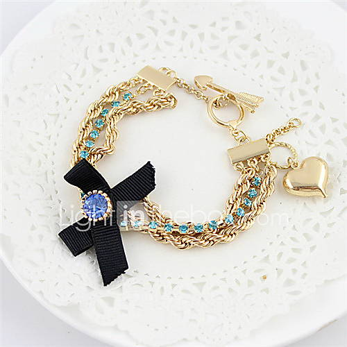 Kayshine Womens Fashion Cute Style Bowknot Pattern Alloy Rhinestone Studded Bracelet
