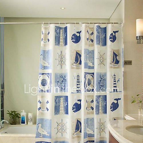 shower curtain modern blue ship print water resistant w71 x l71 1052104 2016. Black Bedroom Furniture Sets. Home Design Ideas