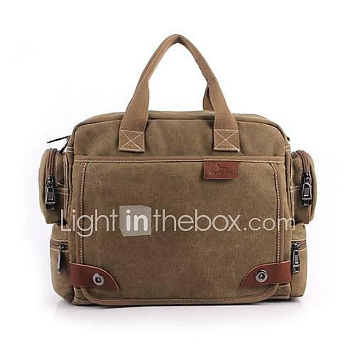Bolsa De Ombro Masculina Vintage : Masculino lona casual bolsa de ombro tote marrom cinza