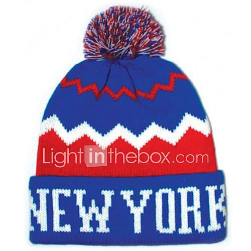 Pompom Beanie avec la rayure Knited Cap Keep Warm acrylique souple Tuque Bonnet à pompon Taille unique bleu avec rouge à New York
