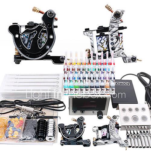 Complete tattoo starter kit 2 guns power supply set for Starter tattoo kits