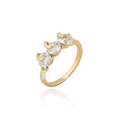 Or 18K anneau de Zircon J28457 de Xinxin femmes