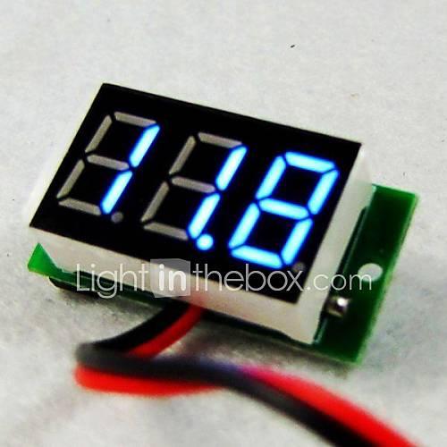 Ultra Mini Taille eau 4.5V à 30V Preuve Aucune alimentation requise LED bleue voltmètre