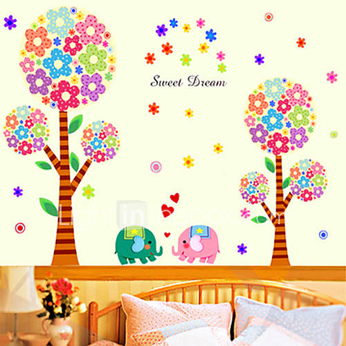 Cartoon rboles y elefantes decorativos pegatinas de pared for Arboles decorativos jardin