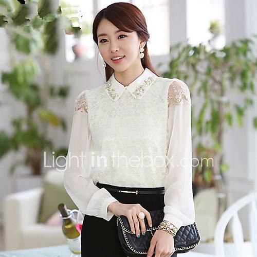 Perles dentelle à manches longues printemps shirt des femmes
