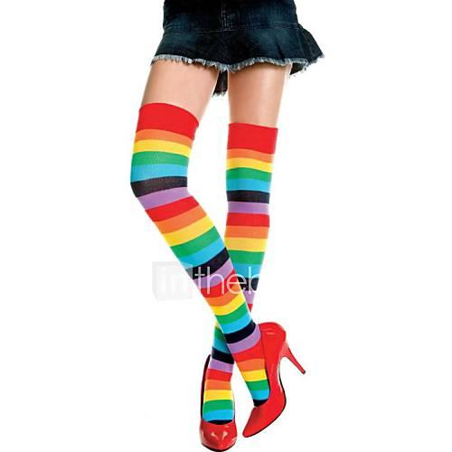 color del arco iris atractivo de la mujer despojada Thight medias Descuento en Lightinthebox
