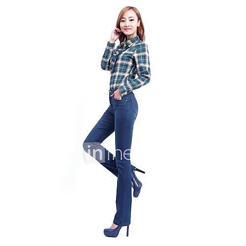 Bleu tour de taille Trompette écrémé longue jean femme
