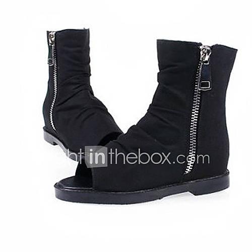 fabric s flat heel ankle peep toe boots 1126769 2016