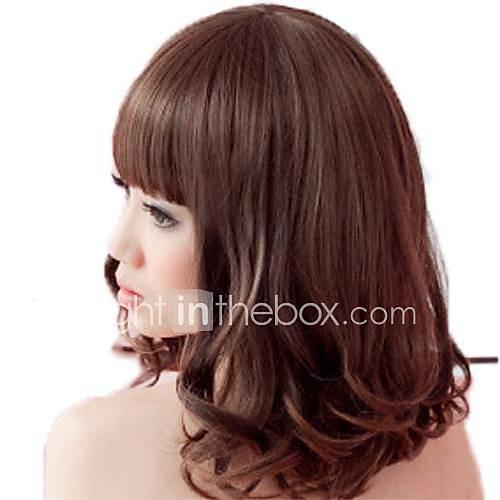 Hair Fashion Moyen-longs bouclés synthétique plein Bang Perruques 3 couleurs disponibles