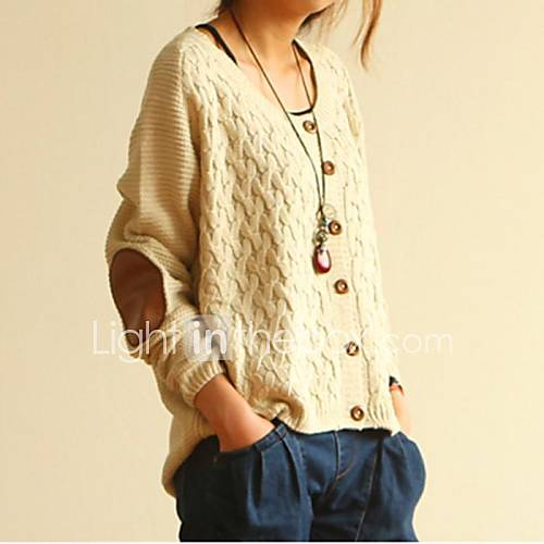 DiversionOutfits. Womens Knitted Patch Retro Gridding Casual Loose Cardiga