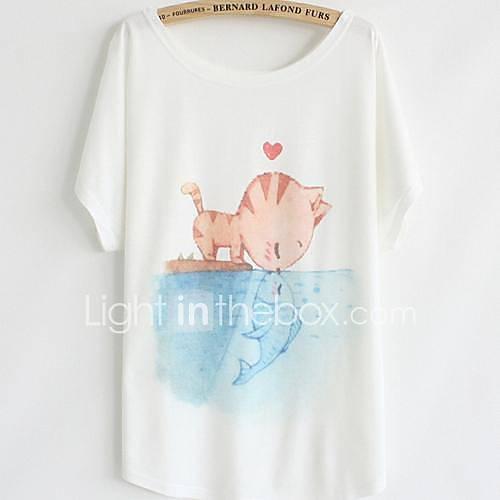 vrouwen-eenvoudig-schattig-zomer-t-shirt-casual-dagelijks-print-ronde-hals-korte-mouw-wit-katoen-dun