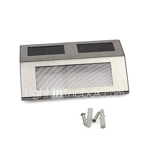 White 2 LED Solar Powered Stairway Light Pathway Step Wall Mounted Stairs Stainless steel Lamp ...