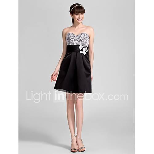 a-linje sweetheart kort   mini satin och spets brudtärna klänning (808.858) de43fbd8cf9f3