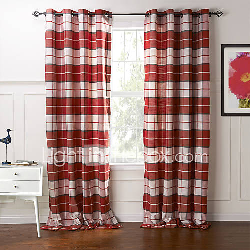 country two panels plaid check red bedroom cotton panel curtains