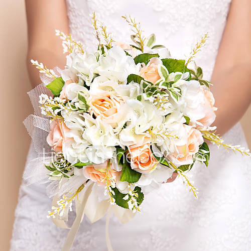 Wedding Flowers Round Roses Bouquets Wedding Silk Orange