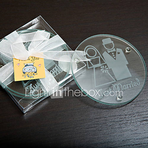 Just Married Glass Coaster Favor