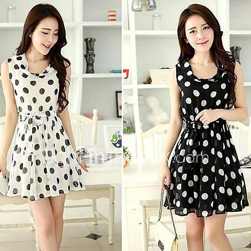 Summer New Korean Dot Doll Collar Polka Dot Chiffon Dress Sleeveless Party Dress