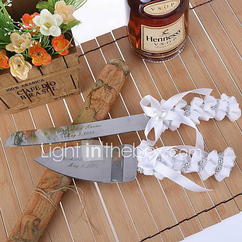 Serving Sets Wedding Cake Knife Personalized Serving Set With Ribbon And Rhinestone 1275024 2016