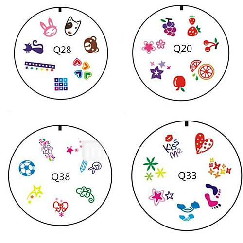 (4 pièces) style différent Fruit Animal Flower 3D Silicone Toe Nail Art Stamp Plate Promotion