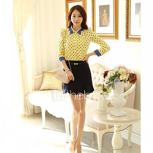 JFS Korea Sytle Womens Fashion Dot Chiffon Shirt