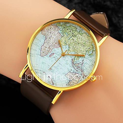 Mujer Reloj de Moda Cuarzo Mapa del Mundo Patrón PU Banda Negro / Blanco / Marrón Marca- Descuento en Lightinthebox
