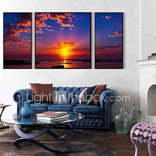 Le coucher de soleil est beau Affiche encadrée toile set de 3