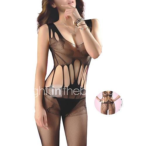 Mujeres el stico hueco de malla negro sexy delgado sin for Chicas sin ropa interior