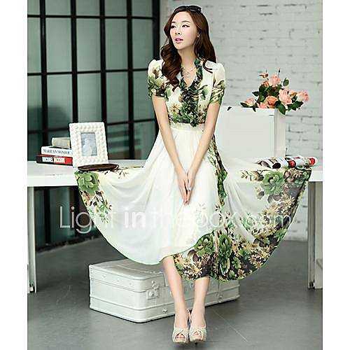 bohème imprimé floral robe de midi plissée des femmes